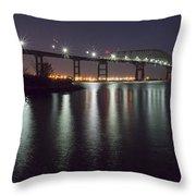 Key Bridge At Night Throw Pillow