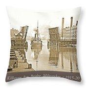 Kilbourn Avenue Bridge, Milwaukee, Wisconsin, 1915-1920, Vintage Throw Pillow