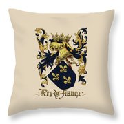 King Of France Coat Of Arms - Livro Do Armeiro-mor  Throw Pillow by Serge Averbukh