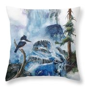 Kingfisher's Realm Throw Pillow