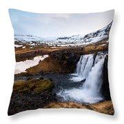 Kirkjufellsfoss Waterfalls Iceland Throw Pillow