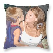 Kissing Mommy2 Throw Pillow