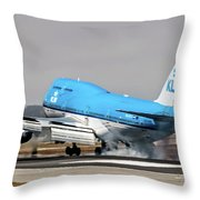 Klm Royal Dutch Airlines Boeing 747 Airplane Landing At San Francisco Airport In San Francisco, Cali Throw Pillow