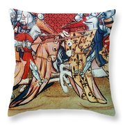 Knights In Tournament Throw Pillow