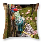 Knit Fence Protectors Throw Pillow