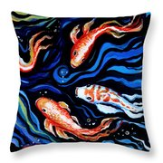 Koi Fish In Ribbons Of Water Throw Pillow