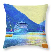 Kotor Harbor Throw Pillow