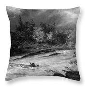 Krieghoff: Canoe On Rapids Throw Pillow