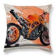 Ktm 1290 Super Duke R Throw Pillow