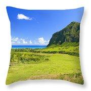 Kualoa Ranch Mountains Throw Pillow
