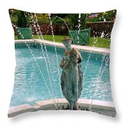 Lady In Fountain Throw Pillow