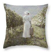 Lady In Vineyard Throw Pillow by Joana Kruse