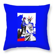 Lady Liberty's Torch Adjusted Parade Tucson Arizona Color Added Throw Pillow