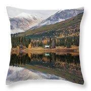 Lake Cabins In Fall Throw Pillow