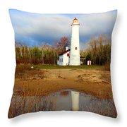 Lake Huron Lighthouse Throw Pillow