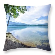 Lake Mcdonald In Glacier National Park Montanaa Throw Pillow