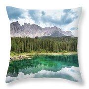 Lake Of Carezza - Italy Throw Pillow