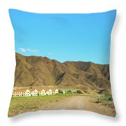 Landscape Desert In Almeria, Andalusia, Spain Throw Pillow