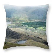 Landscape View Of Llyn Cwellyn And Moel Cynghorion In Snowdonia  Throw Pillow