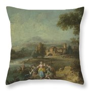 Landscape With A Group Of Figures Fishing Throw Pillow