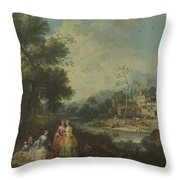 Landscape With A Group Of Figures Throw Pillow