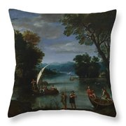 Landscape With A River And Boats Throw Pillow