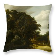 Landscape With A Village Road Throw Pillow