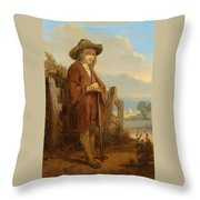 Landscape With A Youth Throw Pillow