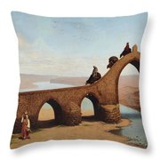 Landscape With Bridge Throw Pillow