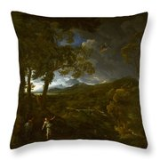 Landscape With Elijah And The Angel Throw Pillow
