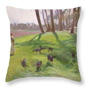 Landscape With Goatherd Throw Pillow