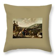 Landscape With Jacob And Rachel Throw Pillow