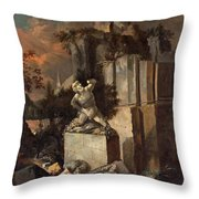 Landscape With Ruins Throw Pillow