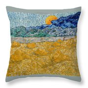 Landscape With Wheat Sheaves And Rising Moon Throw Pillow