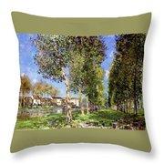 Lane Of Poplars At Moret Throw Pillow