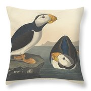 Large-billed Puffin Throw Pillow