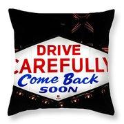 Las Vegas Sign At Night Throw Pillow