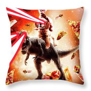 Laser Eyes Space Cat Riding Dog And Dinosaur Throw Pillow
