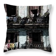 Laundry Day In Havana Throw Pillow