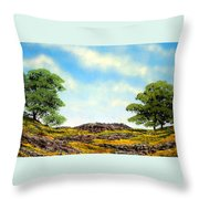 Lava Rock And Flowers Throw Pillow
