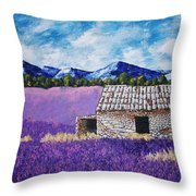 Lavender Farm Throw Pillow