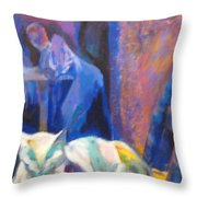 Le Chat Blanc Throw Pillow