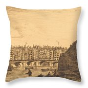 Le Pont-au-change, Paris, Vers 1784 Throw Pillow