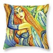 Fairy Leda And The Swan Throw Pillow