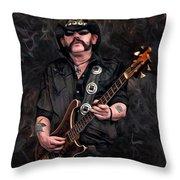 Lemmy Kilmister With Guitar Throw Pillow
