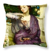Lesbia And Her Sparrow Throw Pillow