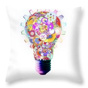 Light Bulb Design By Cogs And Gears  Throw Pillow by Setsiri Silapasuwanchai
