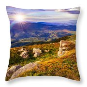 Light On Stone Mountain Slope With Forest Throw Pillow