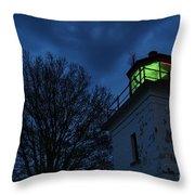 Lighthouse At Night Throw Pillow