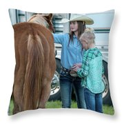 Lil' Cowgirls Throw Pillow